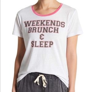 Chaser Weekend Brunch & Sleep Graphic Tee White XS